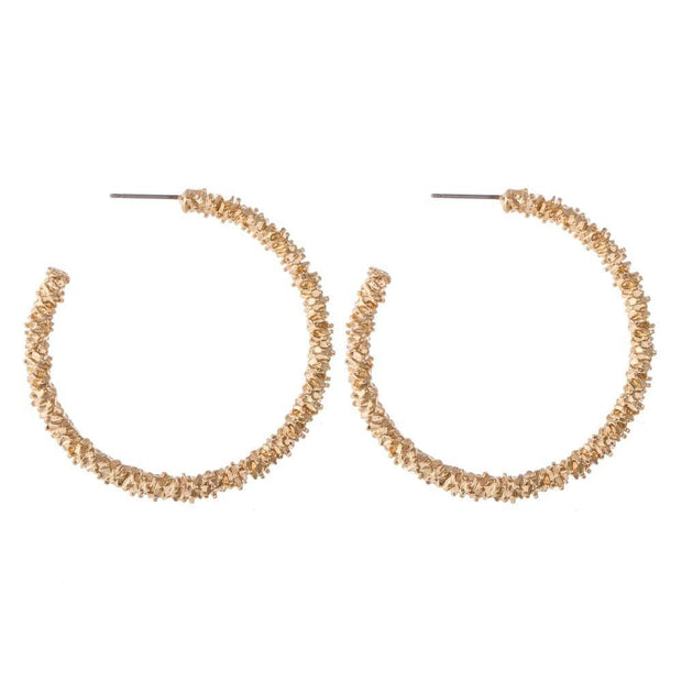 Textured Gold Hoops | Fruit of the Vine Boutique