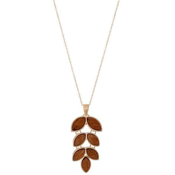 Wood Leaf Pendant Necklace