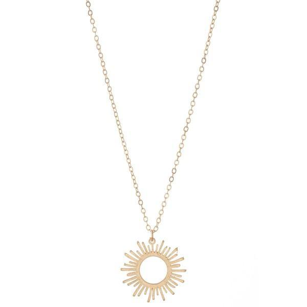 Long Sunburst Pendant Necklace