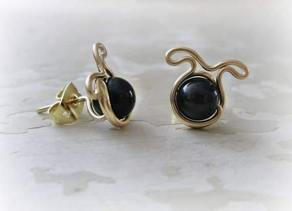 Black Dog Gold Stud Earrings | Fruit of the Vine Boutique