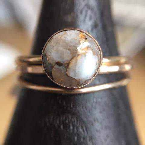 Large Copper Calcite Ring in Goldfill - Fruit of the Vine
