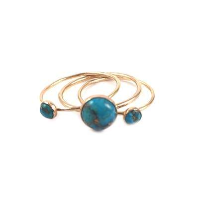 Large Turquoise and Copper Ring in Goldfill - Fruit of the Vine