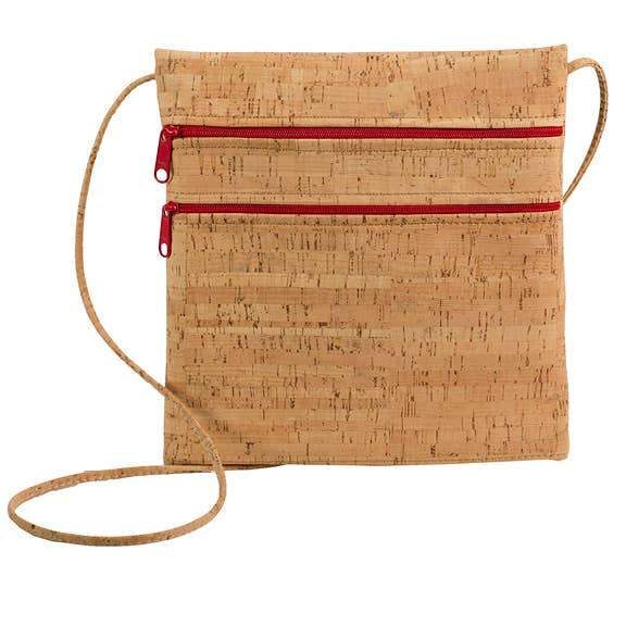 Be Lively 2 All Cork Double Zipper Cross Body Bag - Fruit of the Vine