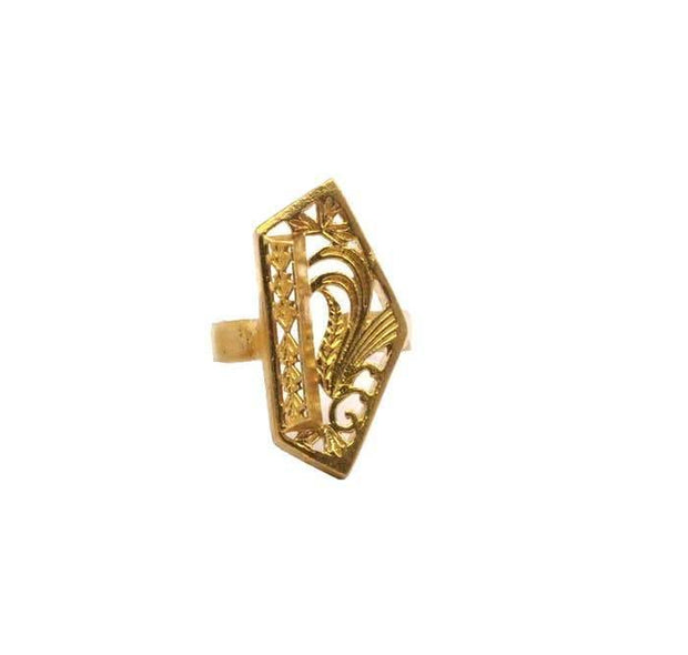 Raw Brass Floral Ring
