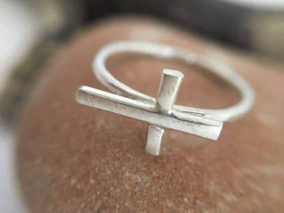 Sterling Silver Mini Cross Ring