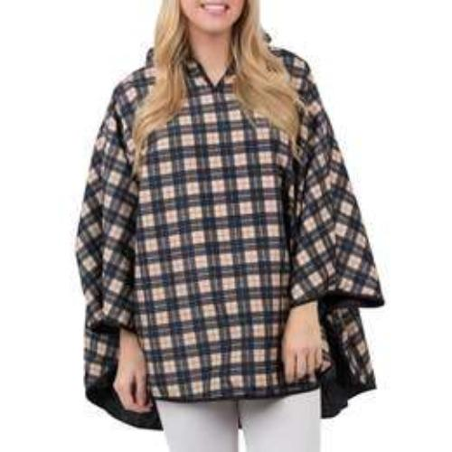 Singin' in the Rain Reversible Poncho in Tan Plaid & Black - Fruit of the Vine