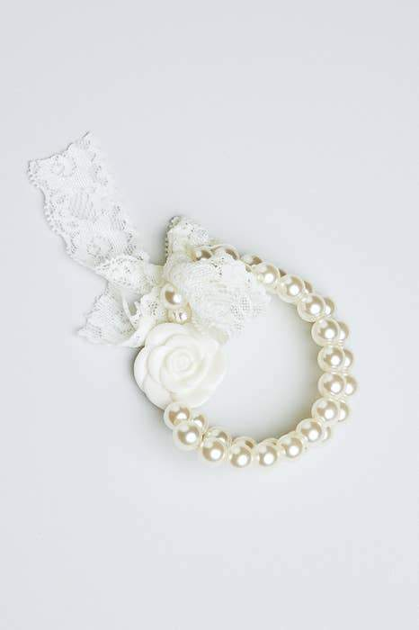 Pearl & Lace Flower Bracelet - Fruit of the Vine