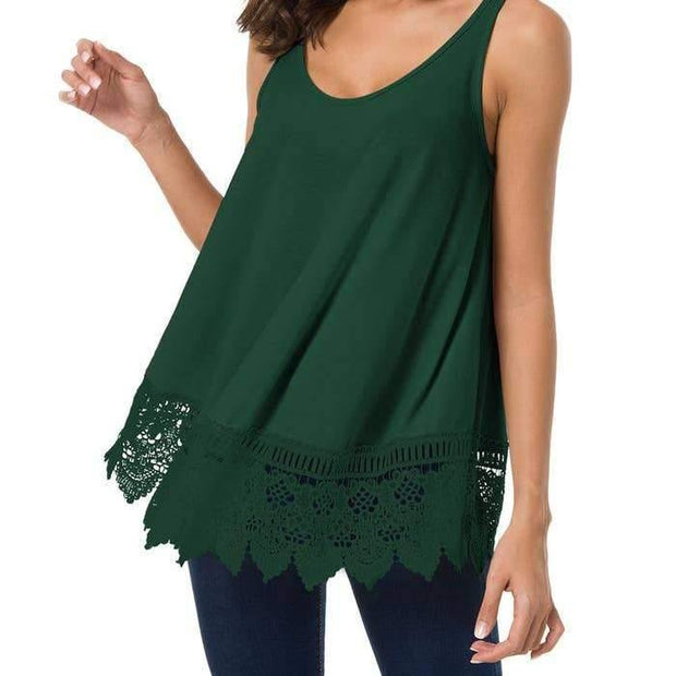 Green Sleeveless Crocheted Tank
