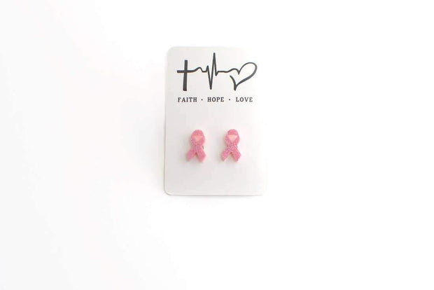 Faith Hope Love Ribbon Pink Studs | Fruit of the Vine Boutique