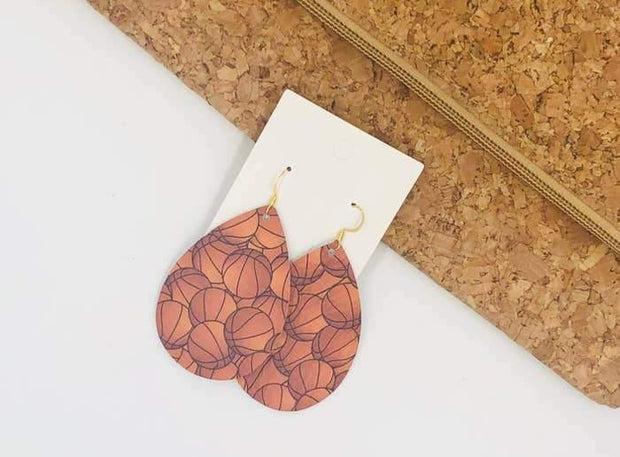 Basketball Print Teardrop Leather Earrings | Fruit of the Vine Boutique