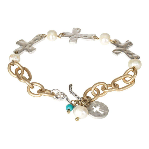 Cross and Pearl Link Bracelet - Fruit of the Vine