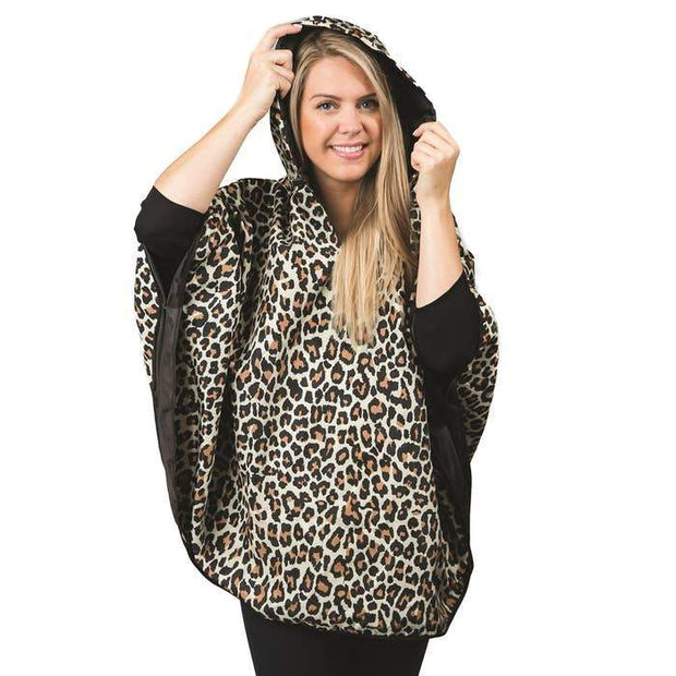 Singin' in the Rain Reversible Poncho in Leopard & Black - Fruit of the Vine