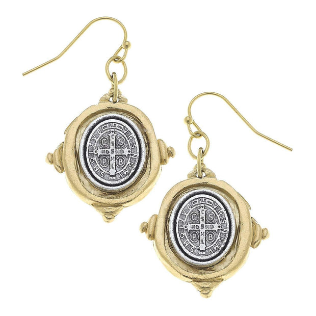 Gold and Silver St. Benedict Cross Earrings | Susan Shaw | Fruit of the Vine Boutique