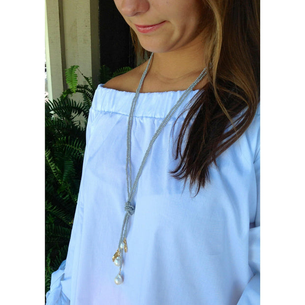 Gray Necklace with Baroque Pearls and Shield of Faith | Gracewear Collection | Fruit of the Vine Boutique
