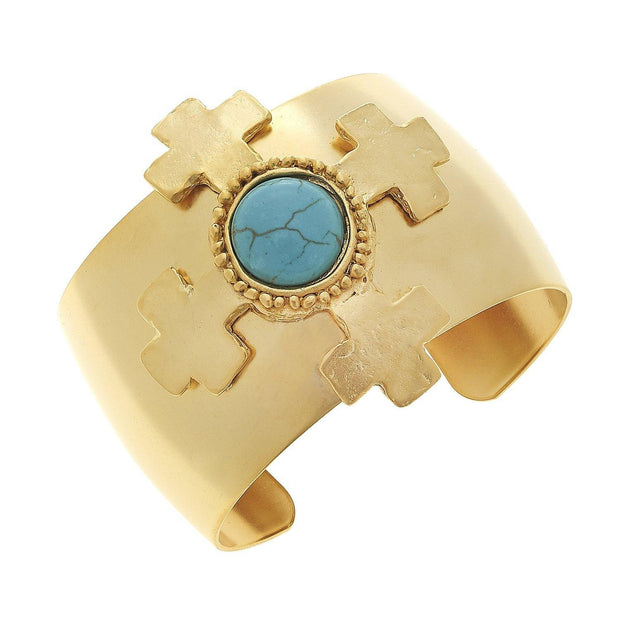 Gold Cross with Genuine Turquoise Cuff Bracelet