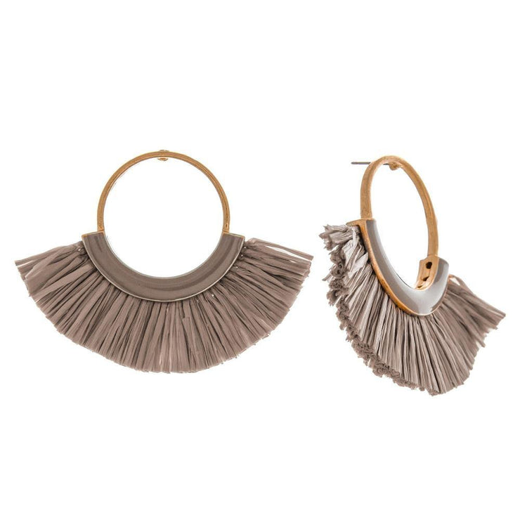 Raffia Hoop Tassel Earrings