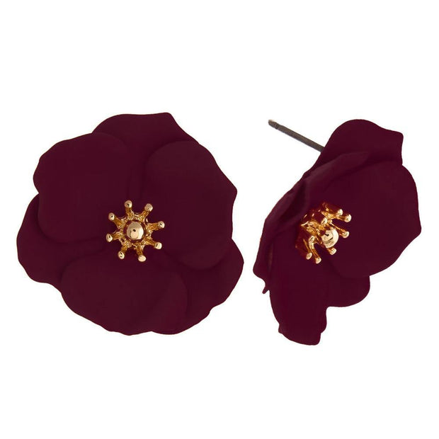 Burgundy Flower Studs | Fruit of the Vine Boutique