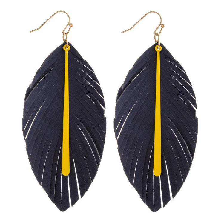 Navy and Yellow Feather Earrings