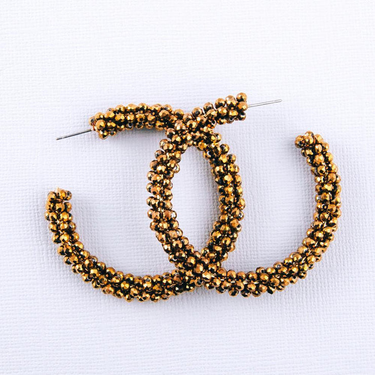 Bronze Beaded Hoop Earrings