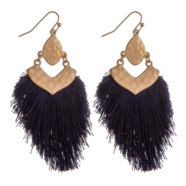 Navy Tassel Earrings - Fruit of the Vine