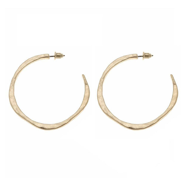 Gold Hammered Hoops - Fruit of the Vine