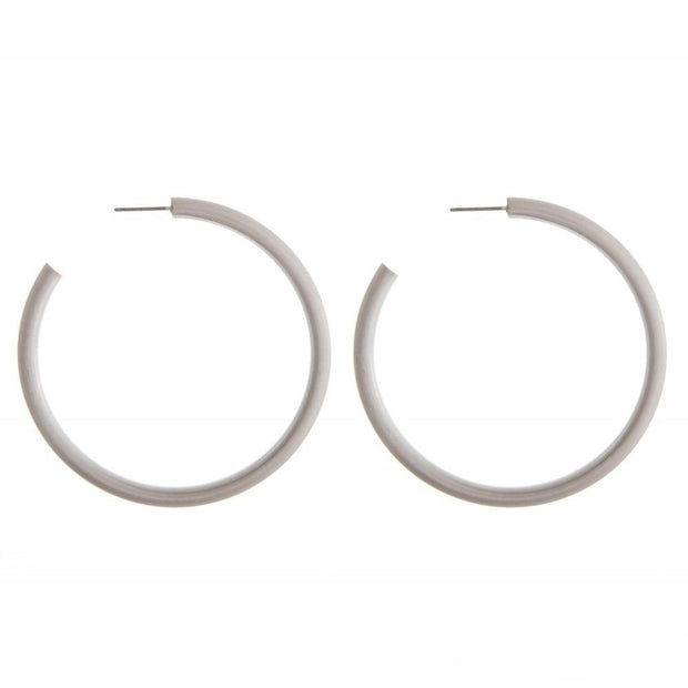 Thin matte silver hoops
