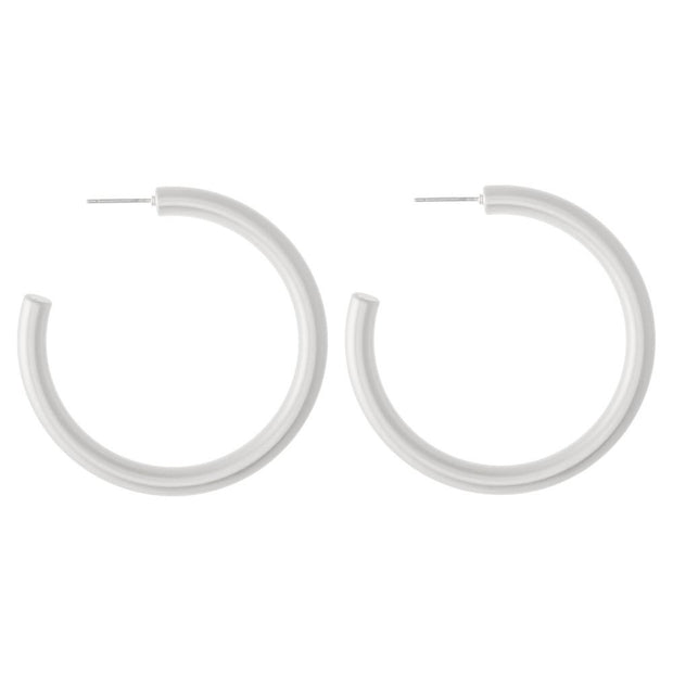 Jessie Matte Silver Hoops - Fruit of the Vine