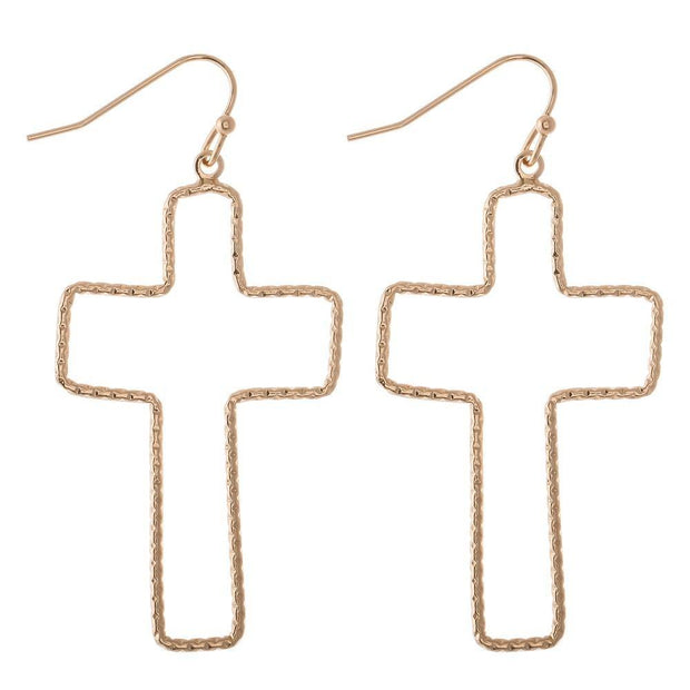 Textured Cross Drop Earrings