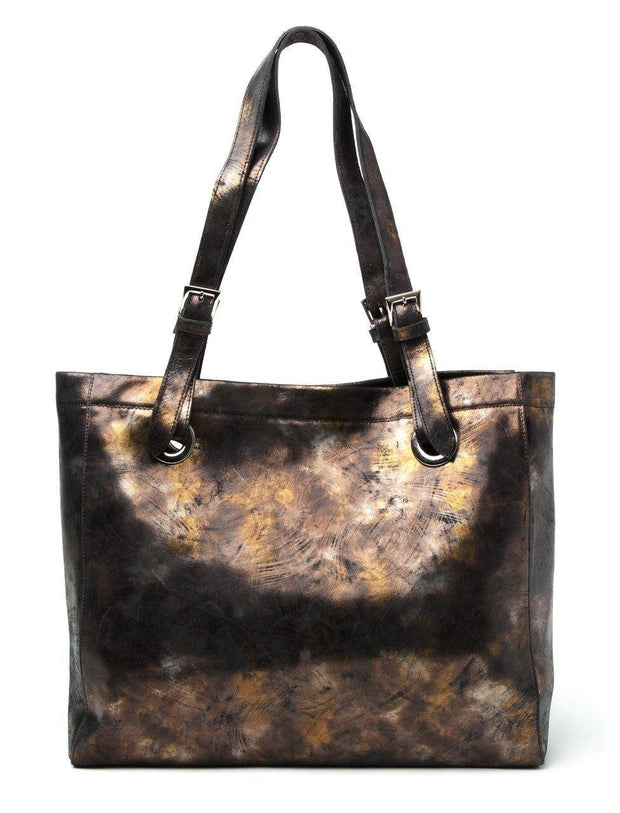 Erin Tote in Black and Gold Metallic | CoFi Leathers | Fruit of the Vine Boutique