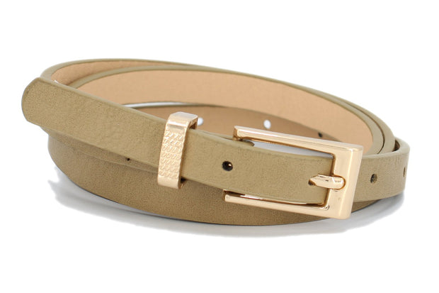 Taupe Skinny Belt with Gold Buckle