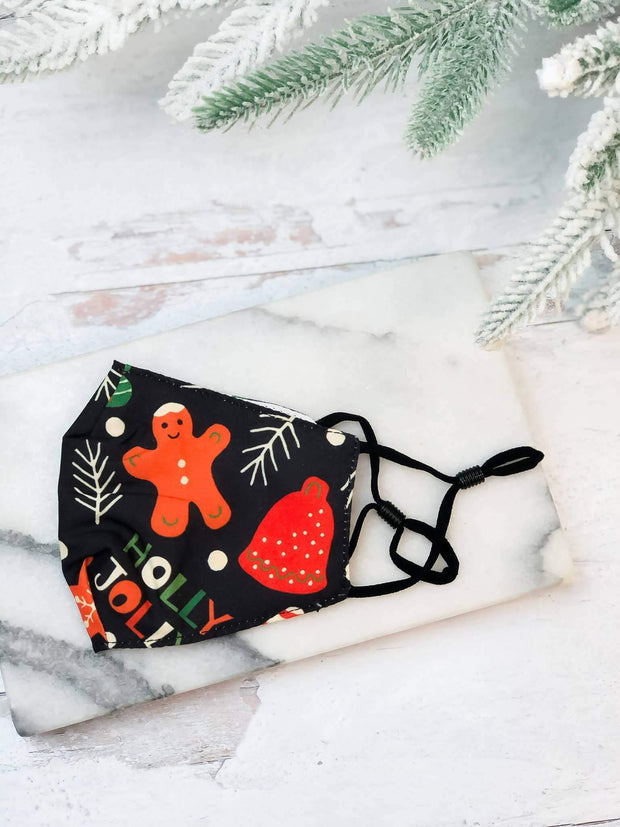 Youth Printed Face Mask - Holly Jolly
