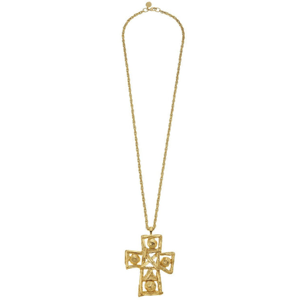 Handmade Gold Cross Necklace | Susan Shaw | Fruit of the Vine Boutique
