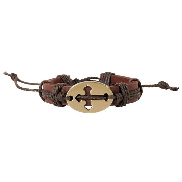 Men's Leather Cross Bracelet - Fruit of the Vine