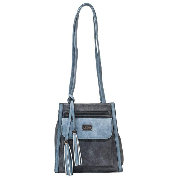 Denim & Dark Grey Gina Convertible Backpack + Shoulder Bag - Fruit of the Vine