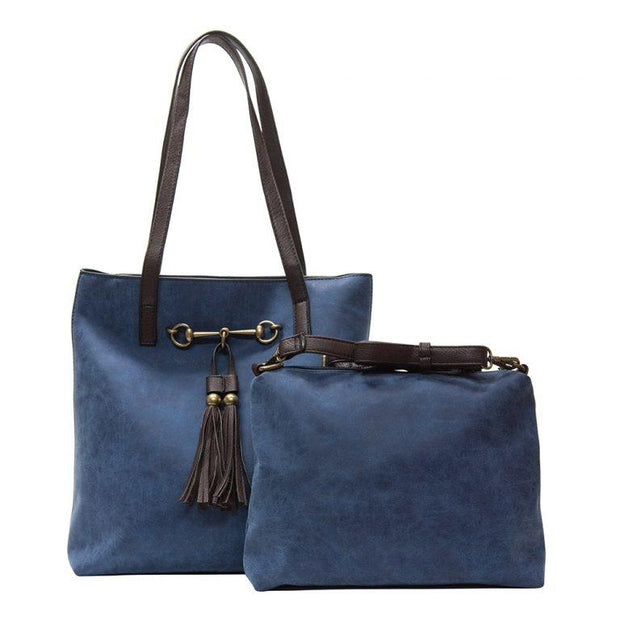 Navy Jane Two in One Horsebit Tote with Tassel - Fruit of the Vine