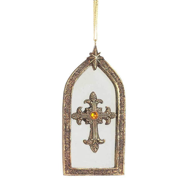 Gold Mirrored Resin Cross Ornament