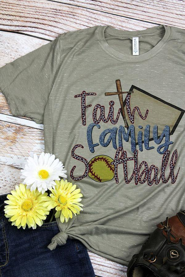 Faith, Family & Softball Tee