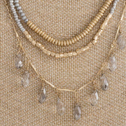 Grey and Gold Trio Layered Necklace
