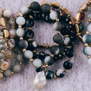 Black Semi Precious Beaded Stretch Bracelet