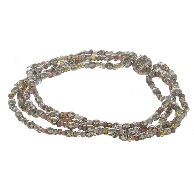 Silver Multi-Strand Seed Beaded Bracelet - Fruit of the Vine