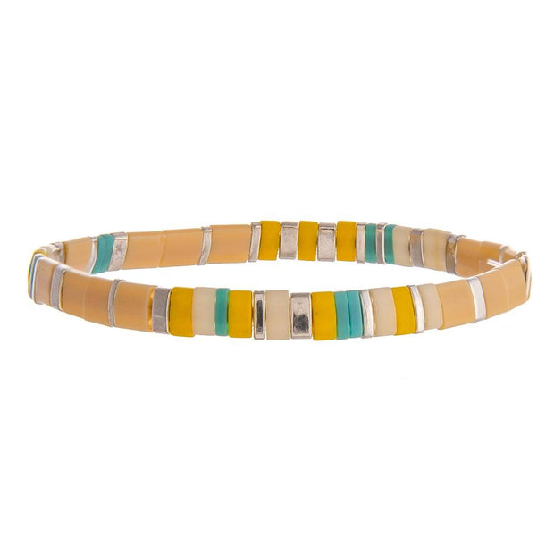 Peach Color Block Bead Bracelet - Fruit of the Vine