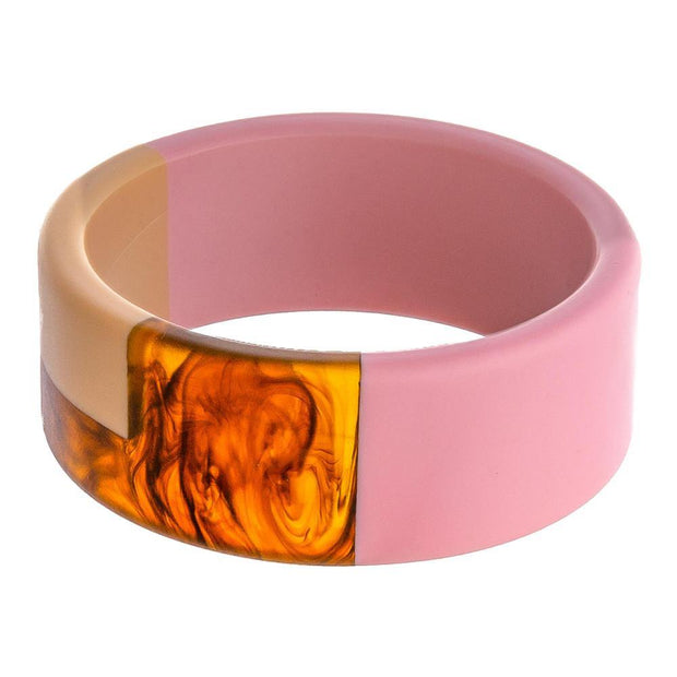 Color Block Bangle Bracelet in Pink and Tortoise