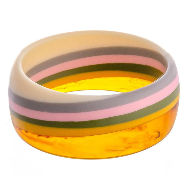 Color Block Bangle Bracelet in Multicolor and Tortoise