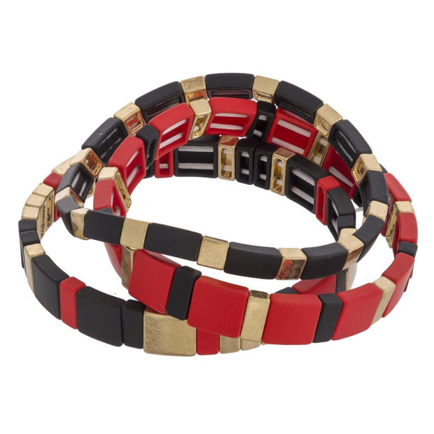 NCSU Color Block Game Day Bracelet Set - Fruit of the Vine