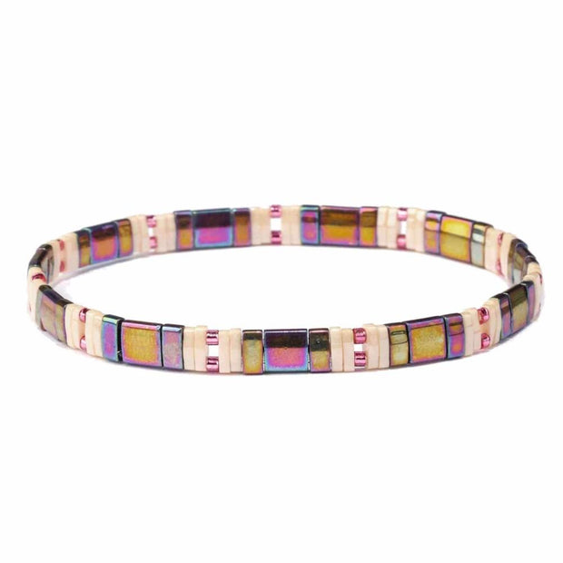 Polly Metallic Color Block Stretch Bracelet - Fruit of the Vine