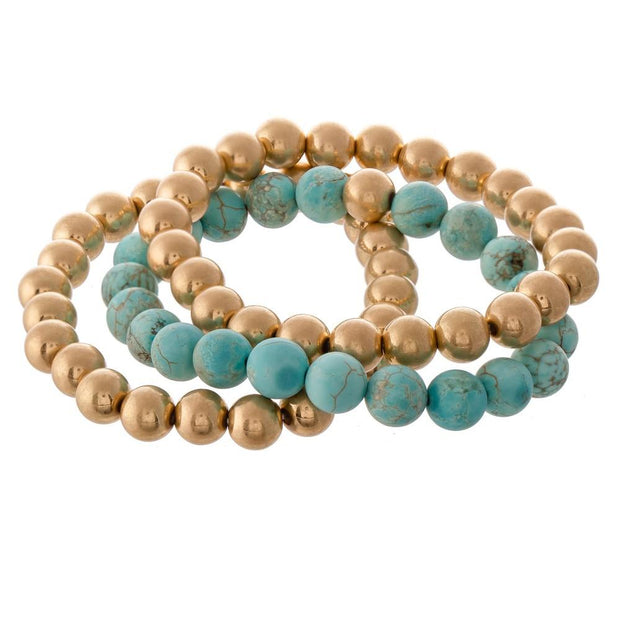 Gold and Turquoise Bracelet Set - Fruit of the Vine