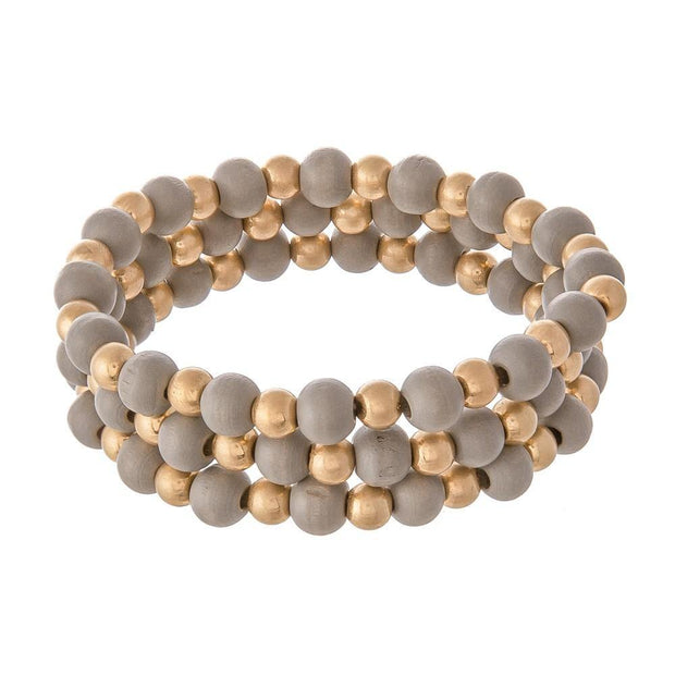 Wood Beaded Stretch Bracelets