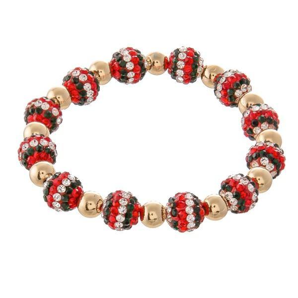 Red and Gold Rhinestone Beaded Bracelet
