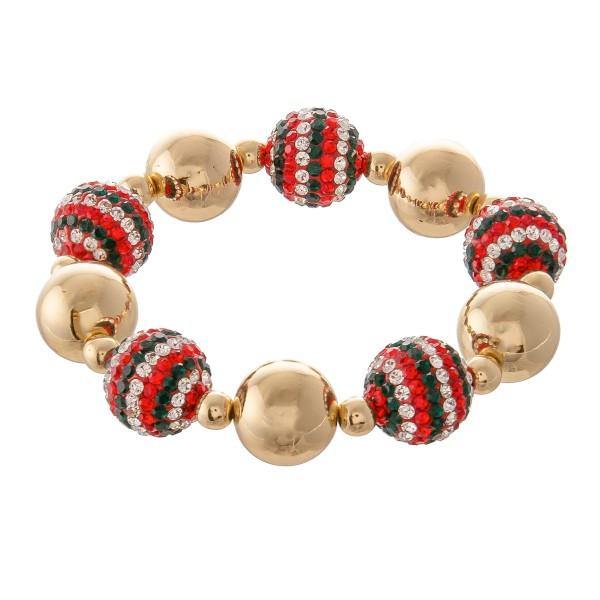 Red, Green and Gold Statement Bracelet