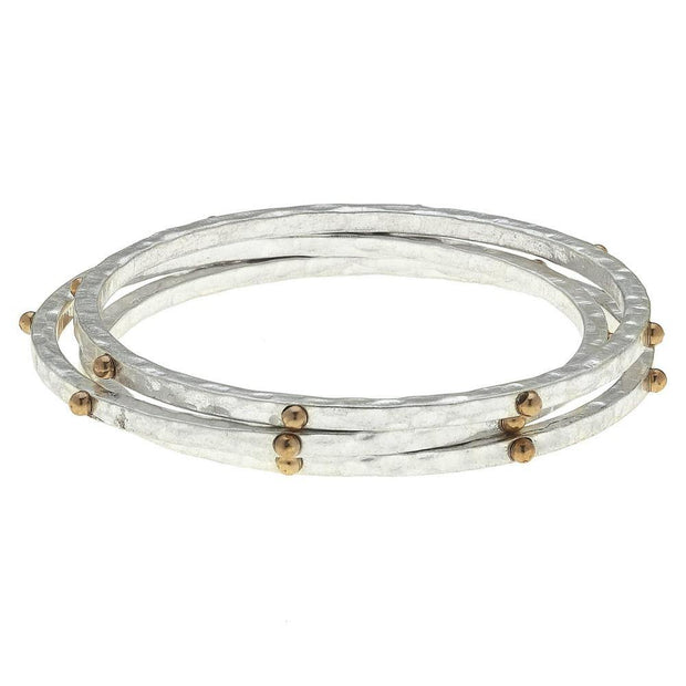 Studded Hammered Bangle Bracelet Sets | Fruit of the Vine Boutique